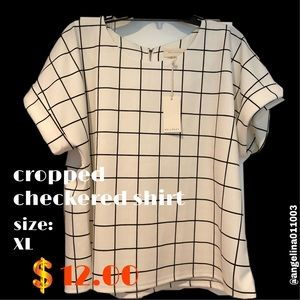 cropped black and white checkered shirt!!